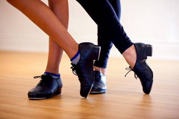 Two tapdance poses with a closeup from the feet
